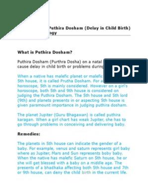 Remedies for Puthira Dosham (Delay in Child Birth) in Vedic