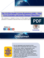 The US FDA Quality System Regulation (QSR) - What Every Executive and Senior Manager Must Know