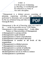 Unit- I Nature or Characteristics of Management