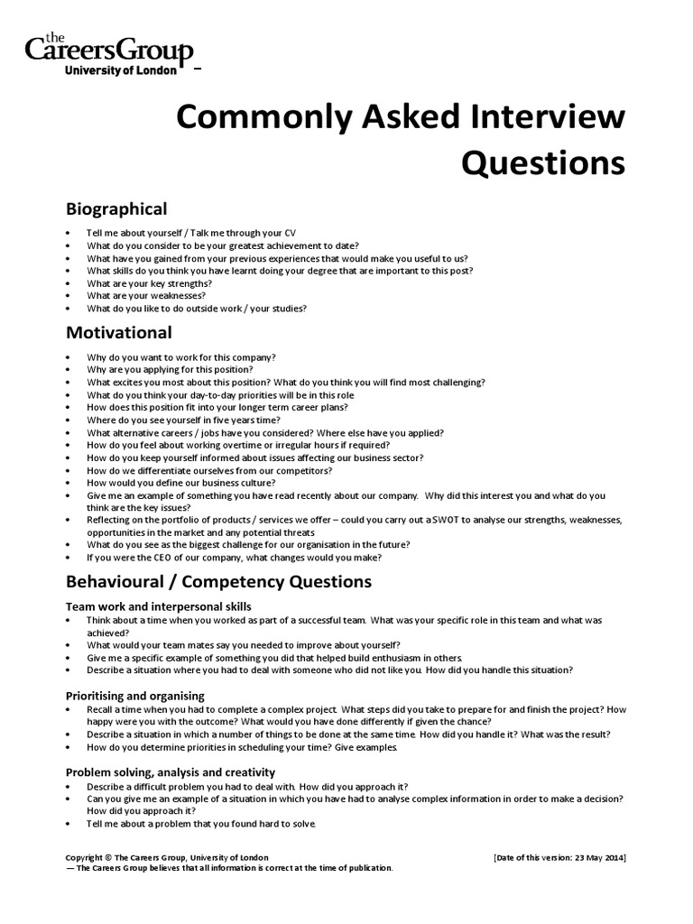 Week 531 Commonly Asked Interview Questions Swot Analysis