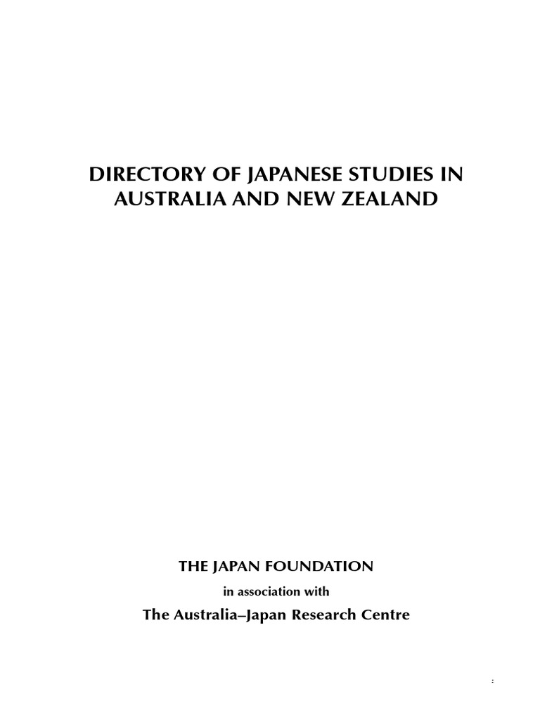 Directory of Japanese Studies in Australia and New Zealand ...