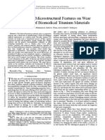 Influence of Microstructural Features on Wear Resistance of Biomedical Titanium Materials