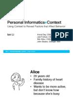 Personal Informatics and Context