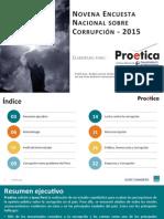 Novena Encuesta nacional sobre percepciones de la corrupción 2015
