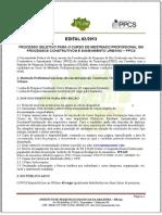 ⭐EDITAL 02_2013 PROCESSO SELETIVO PARA O CURSO DE MESTRADO PROFISSIONAL EM PROCESSOS CONSTRUTIVOS E SANEAMENTO URBANO PPCS
