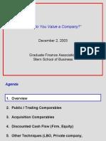 Value of company