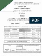 BACPRO BOIS CONSTRUCTION Planification d Une Realisation d Ouvrage Et Definitions de Moyens 2006