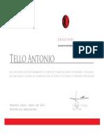 Antonio Tello Justo. Certificado de La Ecuelita.