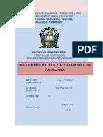 Determancion de Cloruro en La Orina