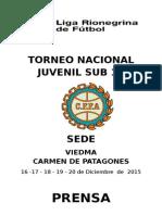 Torneo Nacional Juvenil Sub 15- Prensa