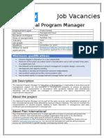 Job Advertisement - National Program Manager