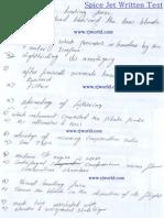 Spice Jet Written Test for Aircraft Technician