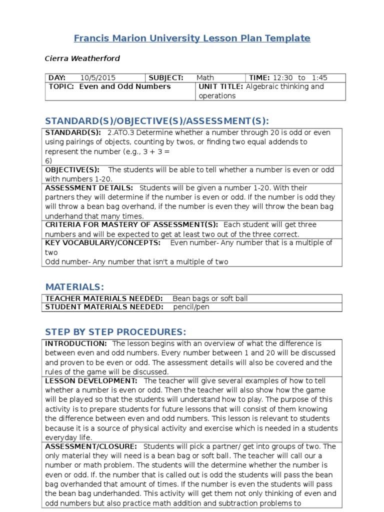 Fmu Lesson Plan Template Educational Assessment - University lesson plan template