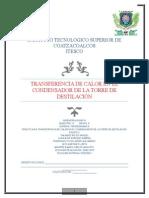 TRANSFERENCIA DE CALOR EN EL CONDENSADOR DE LA TORRE DE DESTILACIÓN