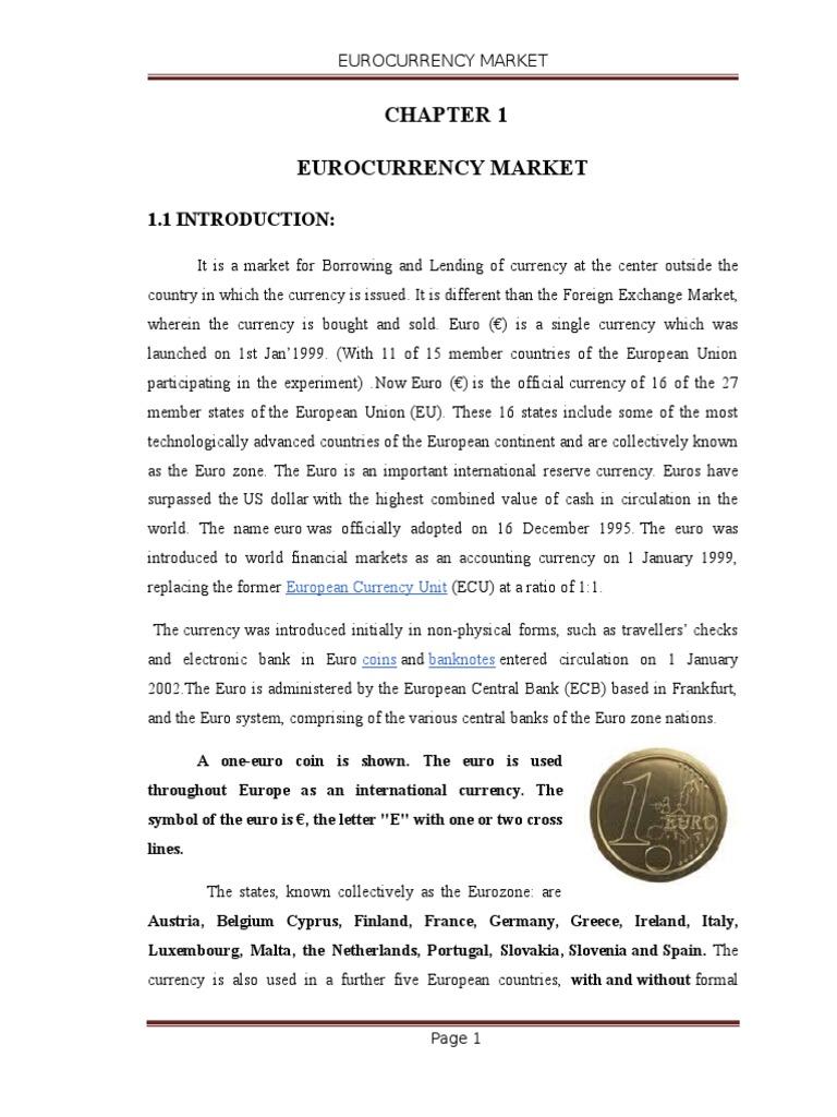 Eurocurrency Market Bonds Finance Euro