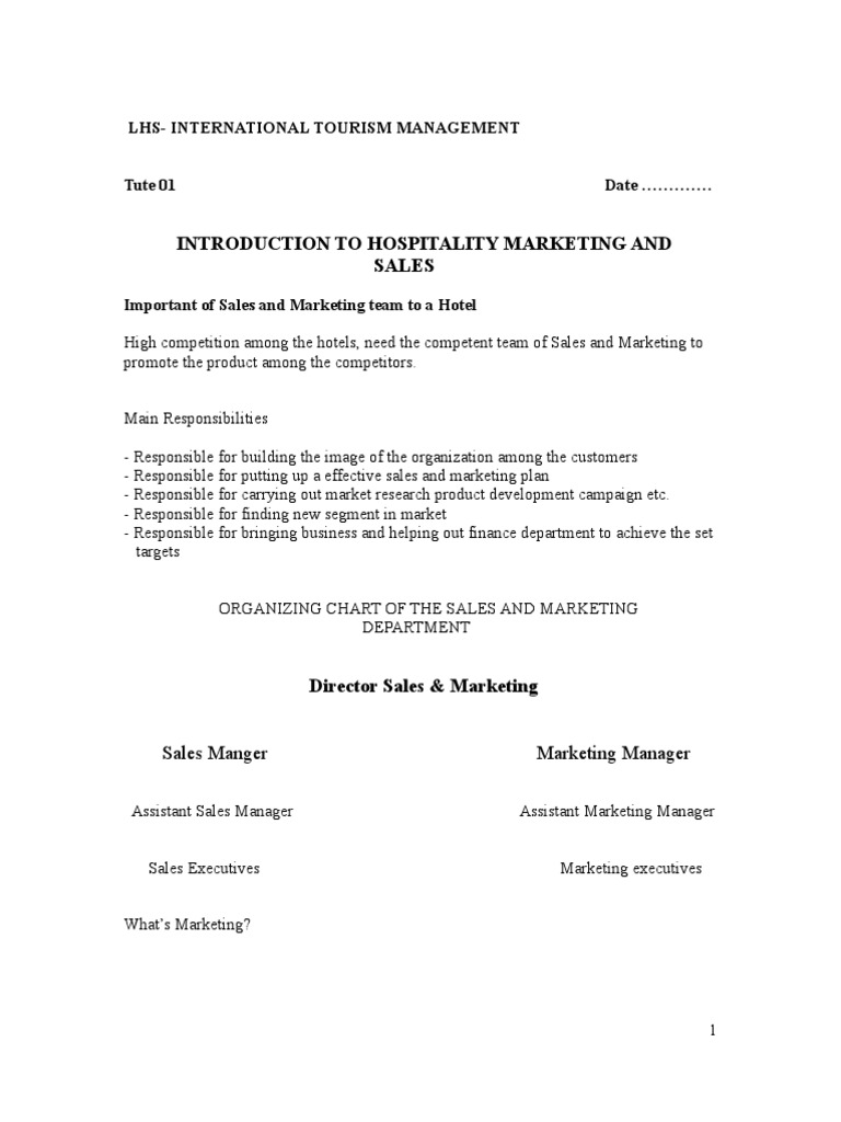 INTRODUCTION TO HOSPITALITY MARKETING AND SALES Sales – Sales Manual Template