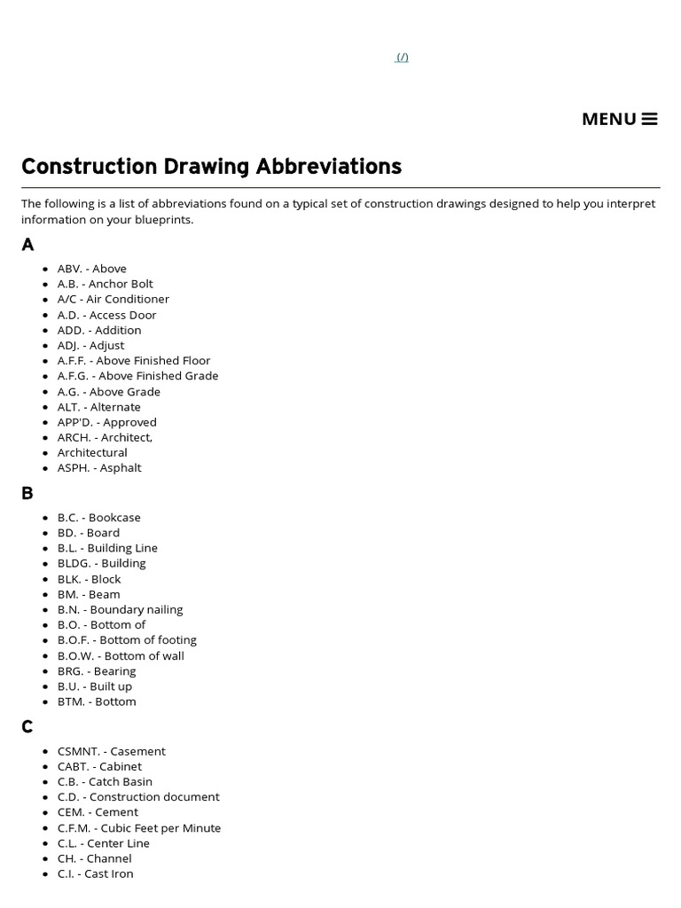 Construction drawing abbreviations the house plan shop manmade construction drawing abbreviations the house plan shop manmade materials building malvernweather Choice Image