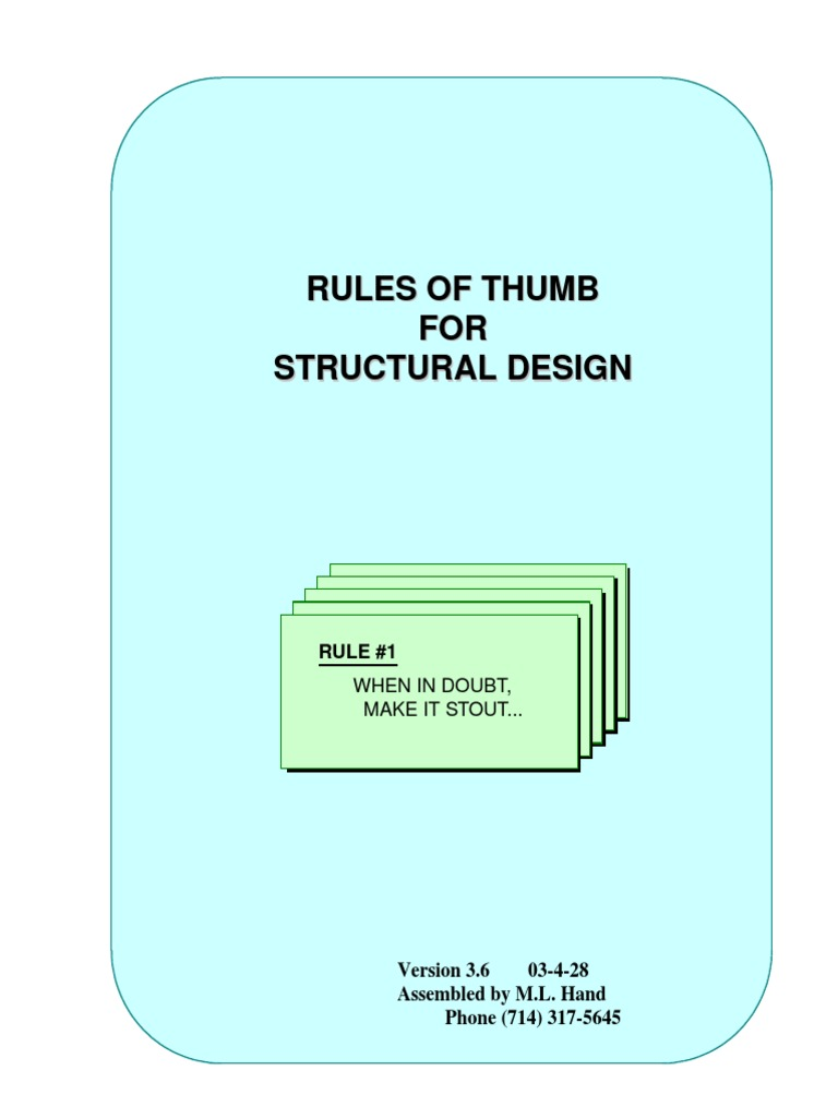 Hand Rules of Thumb V3_6 | Composite Material | Centaur (Rocket Stage)