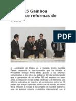 07.12.15 Gamboa reconoce reformas de Peña