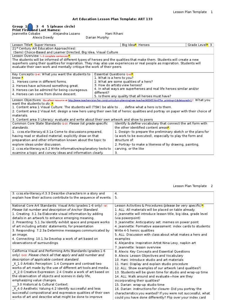 Lesson Plan Template 1 Lesson Plan Common Core State Standards