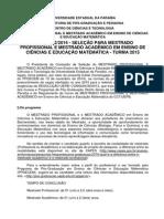 Edital Selecao 2015-Ppgecem-Ensino de Ciências e Ed. Mat