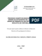 2012 Córdova Procesos Cognitivos Básicos Según Género de Estudiantes Del Cuarto Grado de Primaria de Una Institución Educativa de Ventanilla