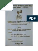 1 Comparacion Del Rendimiento de Perseitol Extraído de Hojas de Persea Americana Mill Variedades Fuerte y Mexicana