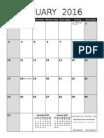 2016 Calendar Portrait