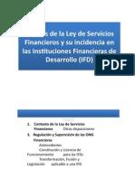 Ley de Servicios Financieros y Su Incidencia en Las IFD