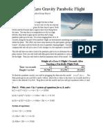 height of zero gravity parabolic flight