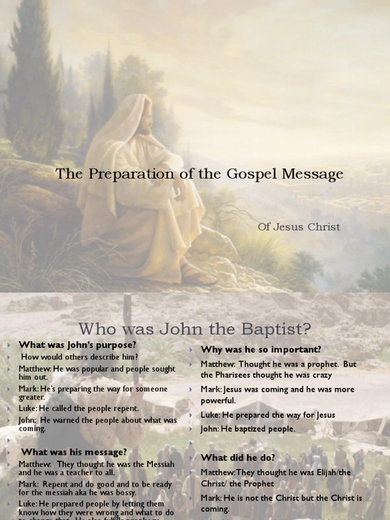 The Preparation of the Gospel Message