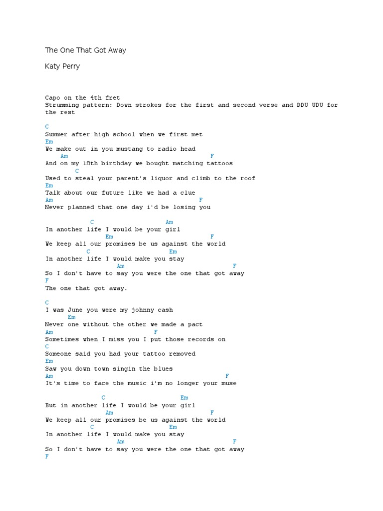 The One That Got Away Chords   Song Structure   Entertainment ...