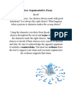 choices argumentative essay assignment sheet