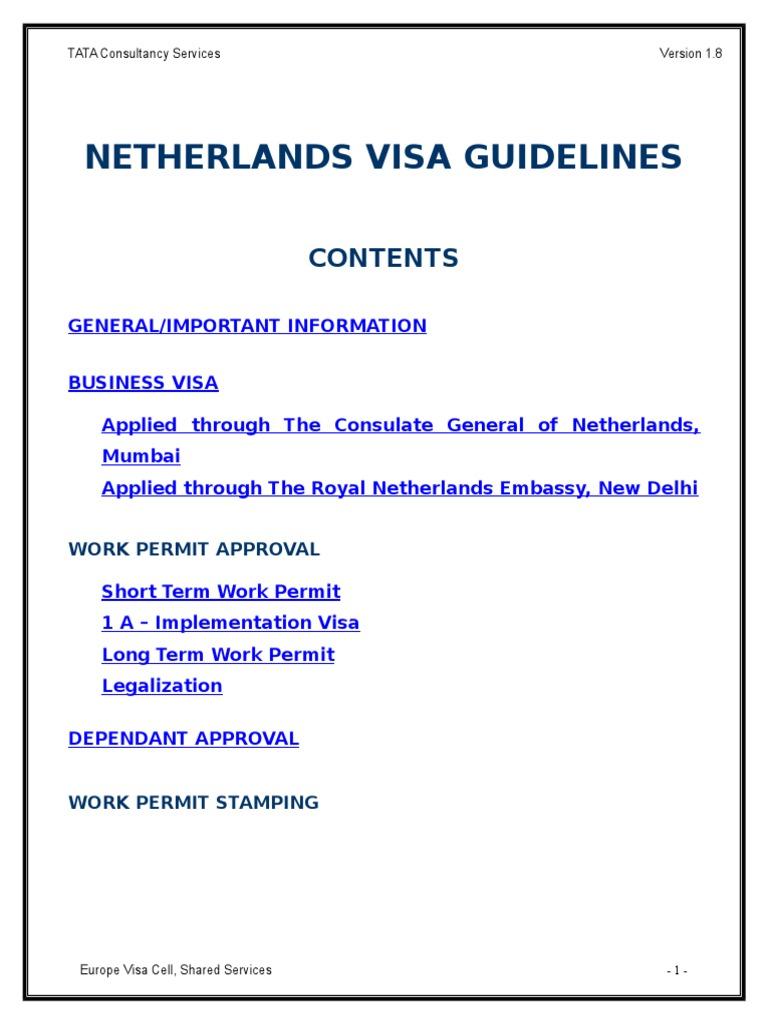 Netherlands Visa Guidelines Verision 1 8 Travel Visa Passport