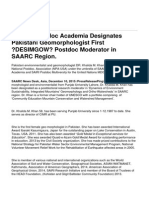 SAARC Postdoc Academia Designates Pakistani Geomorphologist First 'DESIMGOW' Postdoc Moderator in SAARC Region