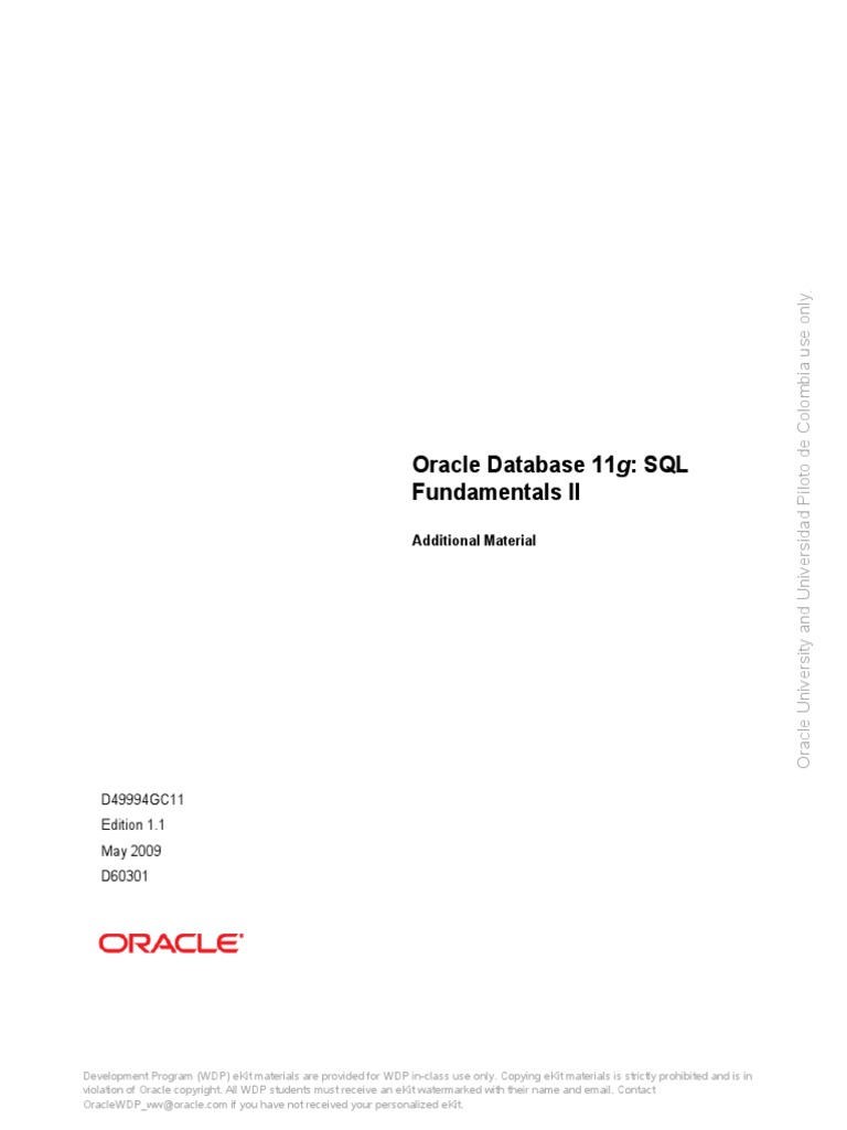 d49994gc11_am1 Oracle 11g Additional Material | Oracle Database