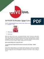 16 WAYS to Practice Agape Love