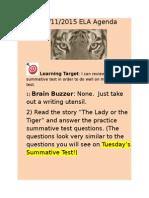 december 11 2015 agenda lady or tiger summative practice unit 2