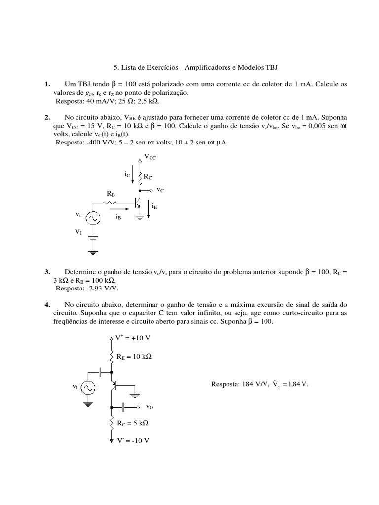 Circuito Aberto : Lista exercícios de amplificadores e modelos tbj