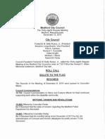 Medford City Council regular meeting December 15, 2015