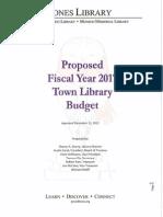 Jones Library FY17 Budget