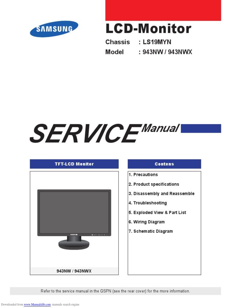 Manual de Servicio Monitor Samsung 943nwx | Electrostatic Discharge |  Electrical Connector