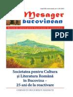 Mesager bucovinean. Anul XII. Serie  nouă. Nr. 1 (45) 2015 Revistă de cultură pentru  bucovinenii de pretutindeni.