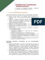 Funciones Específicas de La Municipalidad Distrital de Pucalá