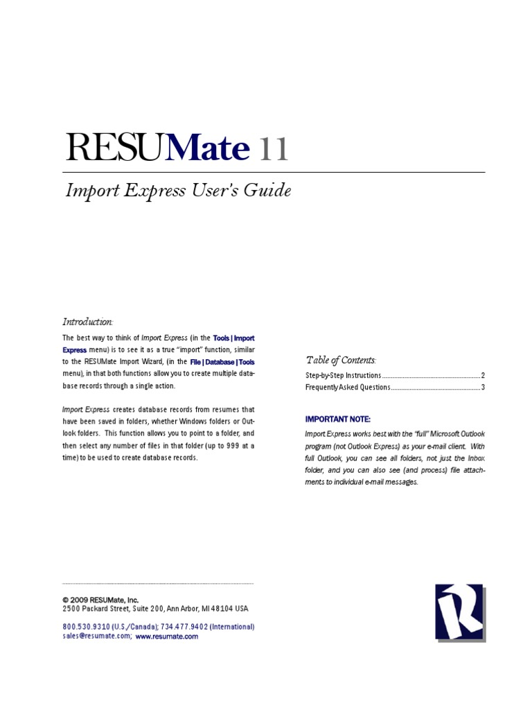 resumate import express users guide email microsoft outlook