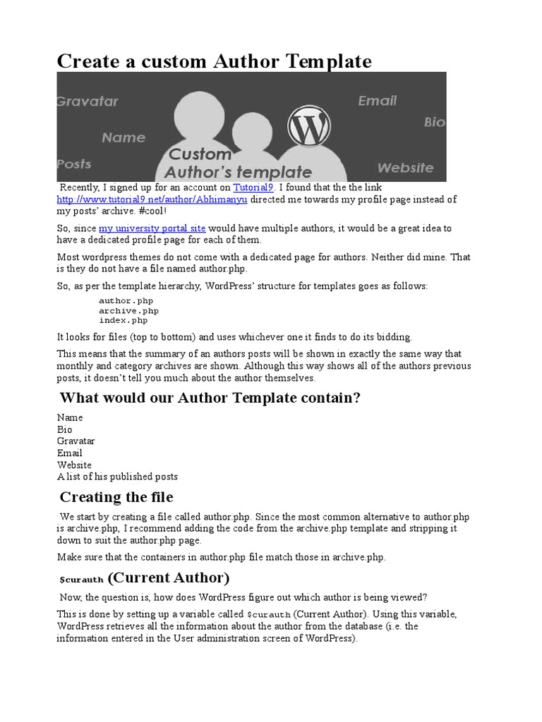 Create A Custom Author Template Word Press Php