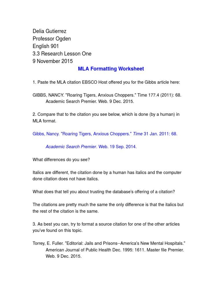 worksheet. Mla Works Cited Worksheet. Grass Fedjp Worksheet Study Site