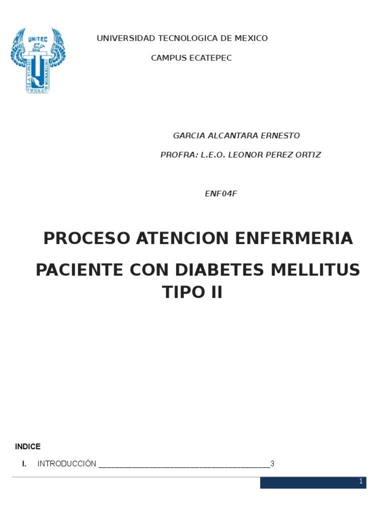 proceso de enfermeria de paciente con diabetes