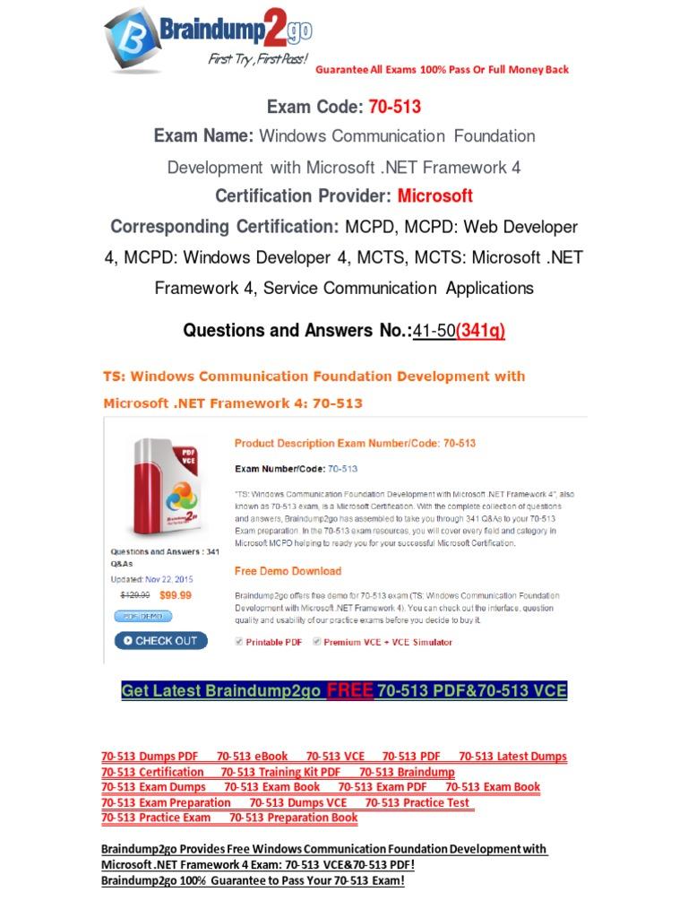 Braindump2go latest 70 513 pdf free 100 pass guaranteed 41 50 braindump2go latest 70 513 pdf free 100 pass guaranteed 41 50 windows communication foundation domain name system xflitez Images