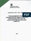 directiva de liquidacion de obra